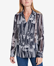 Tommy Hilfiger Printed Pleated Shirt, Created for Macy's