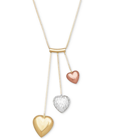 Tri color puff heart pendant necklace in 14k gold white gold tri color puff heart pendant necklace in 14k gold white gold rose gold mozeypictures Choice Image