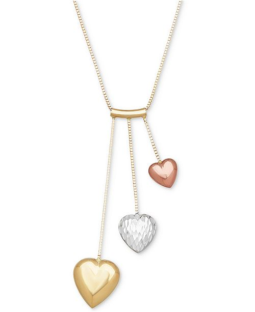 Macy's Tri-Color Puff Heart Pendant Necklace in 14k Gold, White Gold & Rose Gold