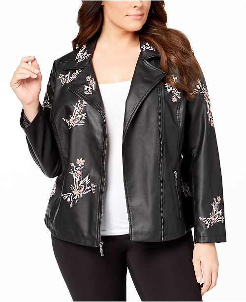 Alfani Size Macy's for Garden Plus Faux Leather Embroidered Small Created Jacket qwqgrpa5