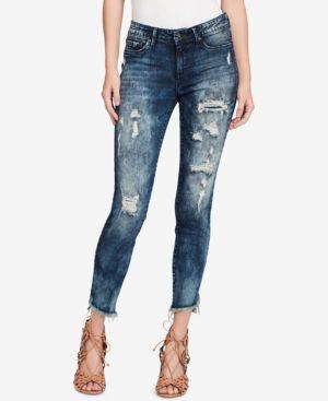 Jessica Simpson Juniors' Kiss Me Asymmetrical-Hem Ripped Skinny Jeans 5486942
