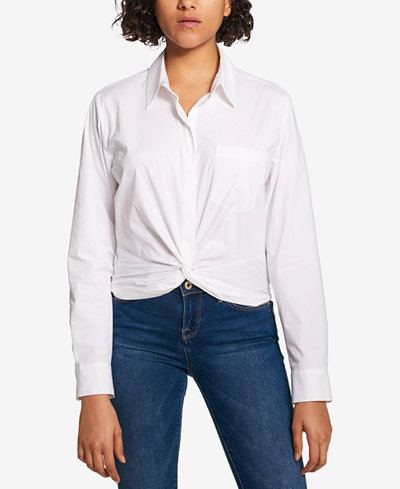 Tommy Hilfiger Twist-Hem Button-Down Shirt, Created for Macy's