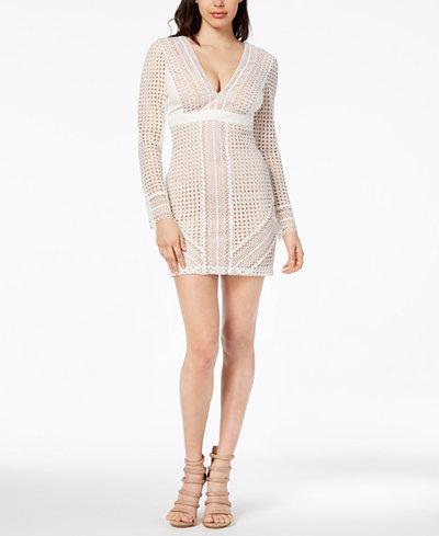 Bardot Long-Sleeve Lace Sheath Dress