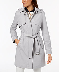 Cole Haan Petite Hooded Belted Trench Coat