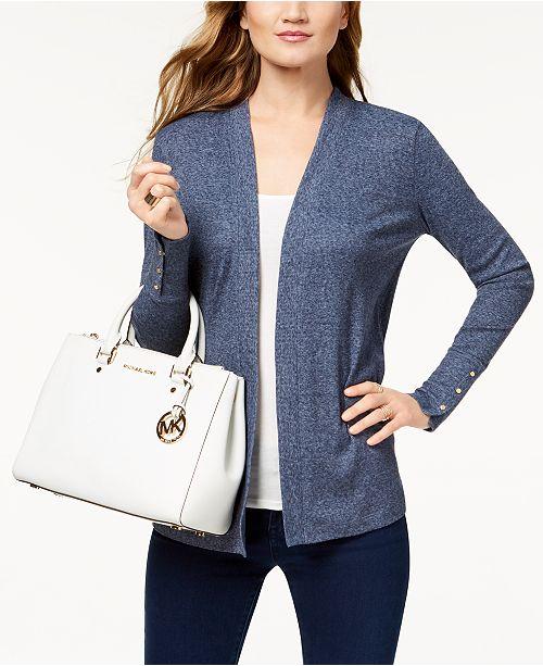 d60f9314596 Michael Kors Ribbed Cardigan   Reviews - Sweaters - Women - Macy s