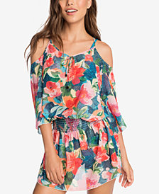 Vera Bradley Superbloom Floral Printed Cold-Shoulder Cover-Up