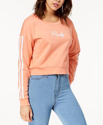 Juniors' Cropped Varsity Sweatshirt by Ultra Flirt