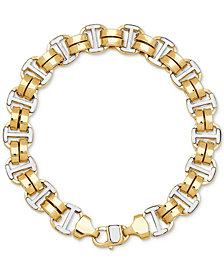 Two-Tone Double Oval Link Bracelet in 10k Gold & White Gold