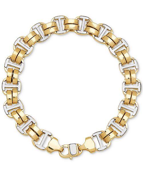 Macy's Two-Tone Double Oval Link Bracelet in 10k Gold & White Gold
