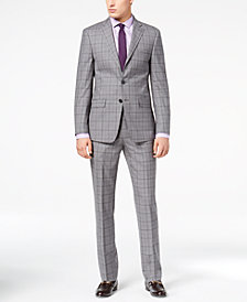 Calvin Klein Men's Slim-Fit Gray Plaid Suit