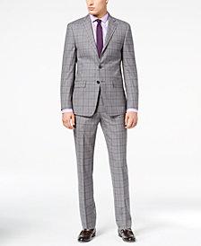 Calvin Klein Men's Slim-Fit Gray Plaid Suit