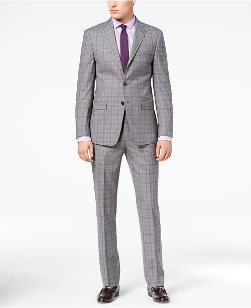 dc73000bcb Calvin Klein Men s Slim-Fit Gray Plaid Suit   Reviews - Suits ...