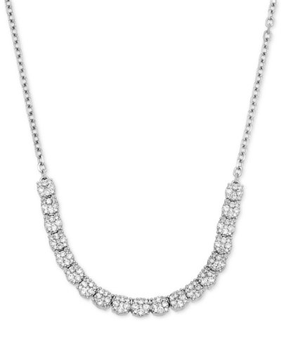 Diamond Cluster Collar Necklace (2 ct. t.w.) in 14k White Gold, 15