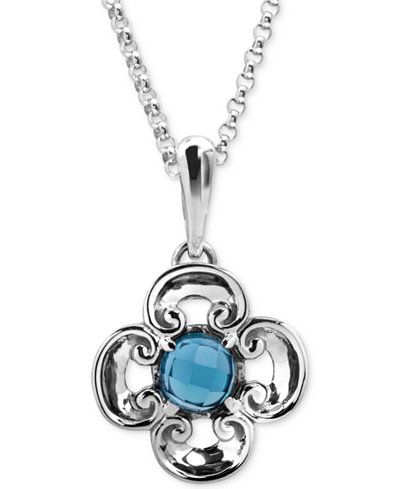Carolyn Pollack Blue Topaz Flower Pendant Necklace (2-1/5 ct. t.w.) in Sterling Silver