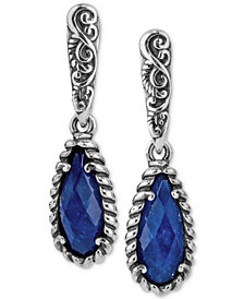 Caroly Pollack Lapis Lazuli/Rock Quartz Drop Earrings (4-7/8 ct. t.w.) in Sterling Silver
