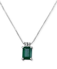 """Emerald (9/10 ct. t.w.) & Diamond Accent 16"""" Pendant Necklace in 14k White Gold"""