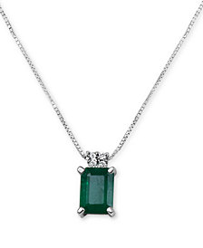 "Emerald (9/10 ct. t.w.) & Diamond Accent 16"" Pendant Necklace in 14k White Gold"