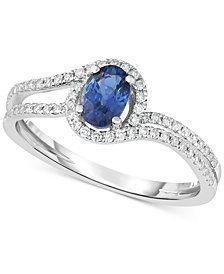 Sapphire (5/8 ct. t.w.) & Diamond (1/4 ct. t.w.) Ring in 14k White Gold