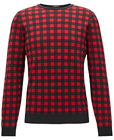 BOSS Men's Regular/Classic-Fit Checked Virgin Wool Sweater