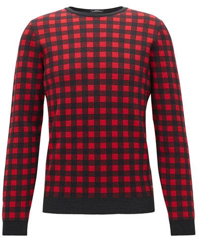BOSS Men's Regular/Classic-Fit Checked Virgin Wool Sweater