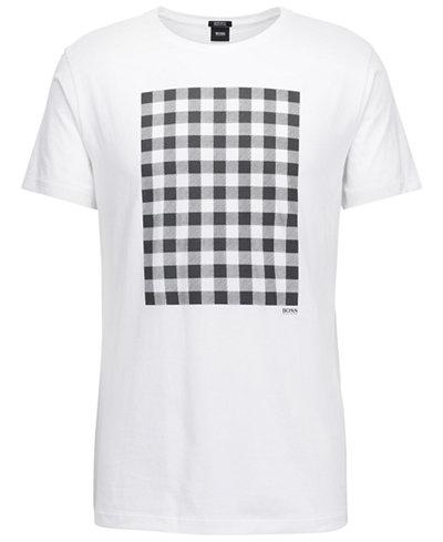 BOSS Men's Regular/Classic-Fit Gingham-Print Cotton T-Shirt