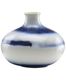 Lenox Painted Indigo Drip Glaze Low Vase