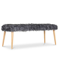 Lucee Faux Fur Bench, Quick Ship