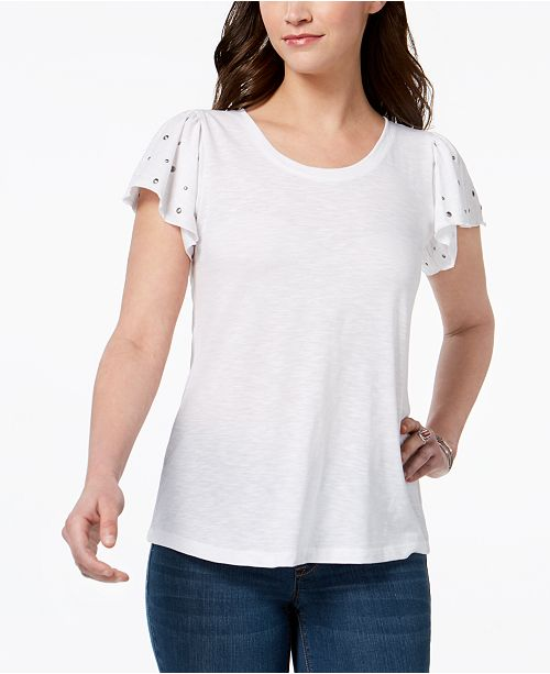 Style & Co Studded Flutter-Sleeve T-Shirt, Created for Macy's