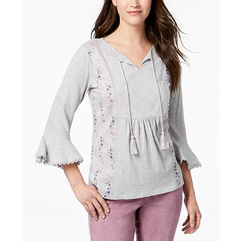 Style & Co Embroidered Peasant Top