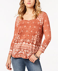Lucky Brand Printed Scoop-Neck Top