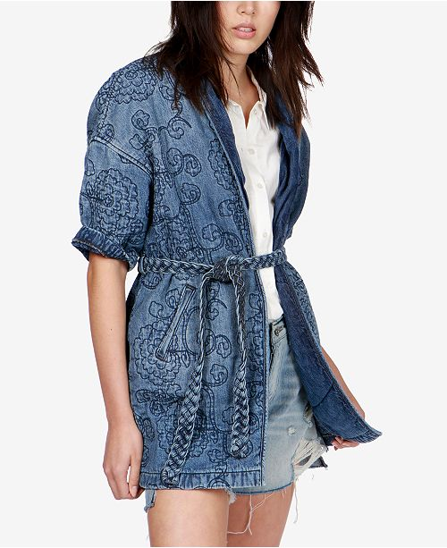 78dd14e30 Lucky Brand Quilted Denim Kimono Jacket & Reviews - Jackets ...