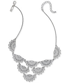 """I.N.C. Silver-Tone Crystal Fan Statement Necklace 18"""" + 3"""" extender, Created for Macy's"""