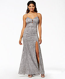 B Darlin Juniors' Sequined Sweetheart Gown, Created for Macy's