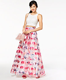 Sequin Hearts Juniors' Crochet Shadow-Striped 2-Pc. Gown, Created for Macy's