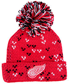 adidas Women's Detroit Red Wings Cuffed Pom Knit