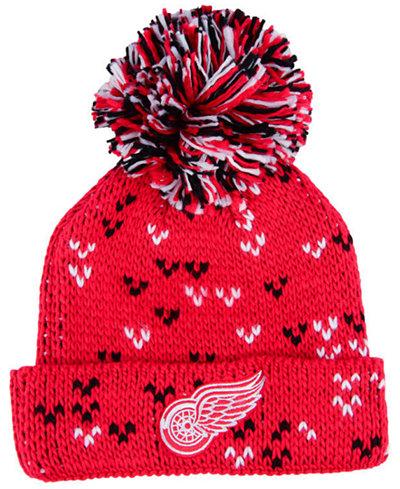 adidas Women's Detroit Red Wings Cuffed Pom Knit