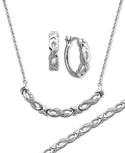 Diamond Accent Infinity Hoop Earrings, Collar Necklace and Link Bracelet Set in Silver-Plate