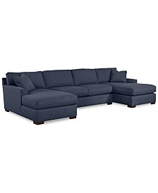 Astonishing Furniture Carena 3 Pc Fabric Sectional Sofa With Armless Andrewgaddart Wooden Chair Designs For Living Room Andrewgaddartcom