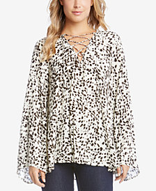 Karen Kane Lace-Up Bell-Sleeve Top