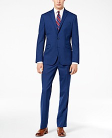 Men's Ready Flex Bright Blue Sharkskin Slim-Fit Suit