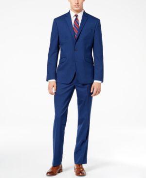 Kenneth Cole Reaction Men's Techni-Cole Bright Blue Sharkskin Slim-Fit Suit