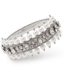 Marchesa Crystal & Imitation Pearl Bangle Bracelet