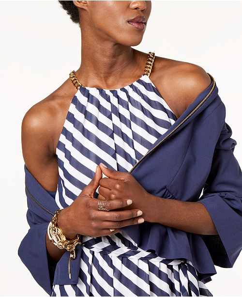 db7265d1fc7 Michael Kors Petite Striped Chain-Trim Maxi Dress   Reviews ...