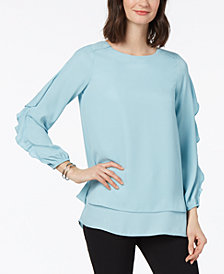 Love Scarlett Petite Ruffle-Trim Blouse, Created for Macy's