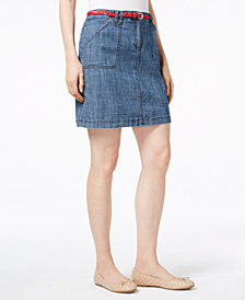 Karen Scott Belted Chambray Skort, Created for Macy's
