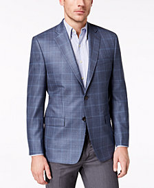 Lauren Ralph Lauren Men's Big & Tall Classic-Fit Ultraflex Blue Windowpane Plaid Silk and Wool Sport Coat