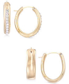 Signature Gold 2-Pc. Set Swarovski Crystal & Polished Hoop Earrings in 14k Gold over Resin, Created for Macy's