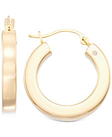 Signature Gold Diamond Accent Huggie Hoop Earrings in 14k Gold over Resin, Created for Macy's