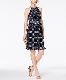 MSK Metallic-Dot Pleated Halter Dress