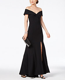 Xscape Petite Off-The-Shoulder Crepe Gown
